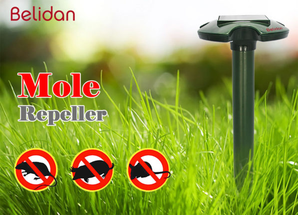 Belidan Solar Mole and Snake Repeller - Pack of 2 Solar Powered Repellent for Moles Snakes Rodents Mice Gophers Voles and Shrews - Waterproof Sonic Repeller to Chase Away Pests - Outdoor Pest Control