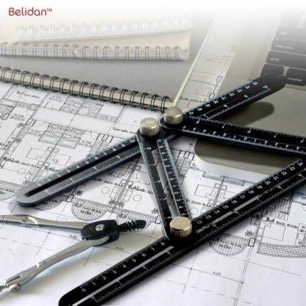 Universal Angularizer Ruler- Belidan Template Tool Laser Engraved - Metal Angle Measurement Tool Multi-Angle Measuring Ruler Aluminum Alloy Multi Angle Ruler Template Tool